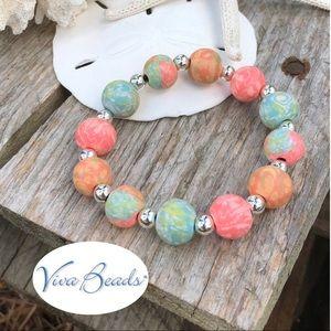 Viva Beads Coral Reef Chunky Stretch Bracelet
